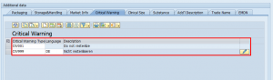 Enter Critical Warning in the SAP Add-On for EUDAMED